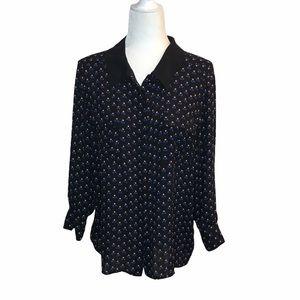 I Heart Ronson Floral Button Down Shirt Blouse XL